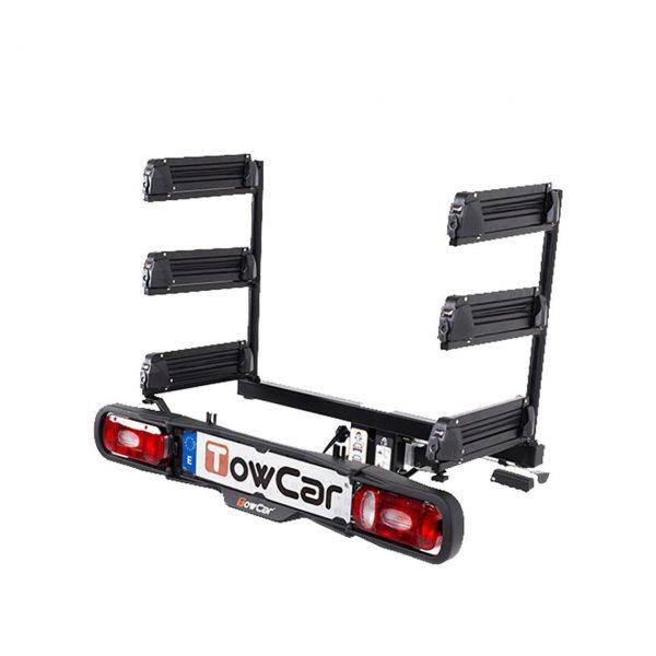 TowCar Aneto 6 е един невероятно лесен и удобен вариант за транспортиране на до 6 чифта ски или 6 сноуборда с монтаж на теглич с лесен достъп