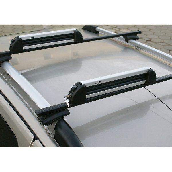 Голям универсален багажник Hakr Alu 6 - 78см за ски или сноуборд с монтаж на стоманени напречни греди с планки или на алуминиеви с Т канал и Т болтове