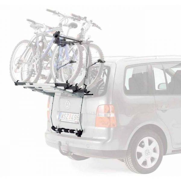 Универсален велосипеден багажник с носач за три колелета и монтаж за багажна врата Padova 378 на италианския производител Peruzzo - безопасно транспортиране на вашите велосипеди
