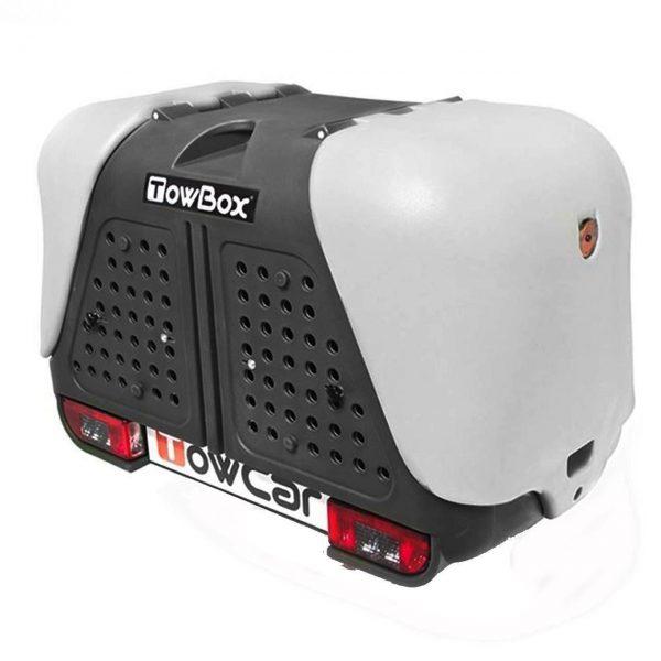 Автобоксът за теглич ToxBox V2 Dog е багажник за превозване на домашни любимци или товари като бебешки колички, инвалидни колички, куфари, косачки, материали и други.