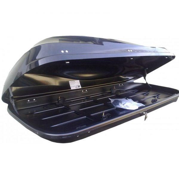 Автобоксът Junior Altro 460 от MJAutobox.com е черен багажник в металик лак - красива и тиха  кутия с модерен дизайн с голям обем, луксозен дизайн и отлична аеродинамика.