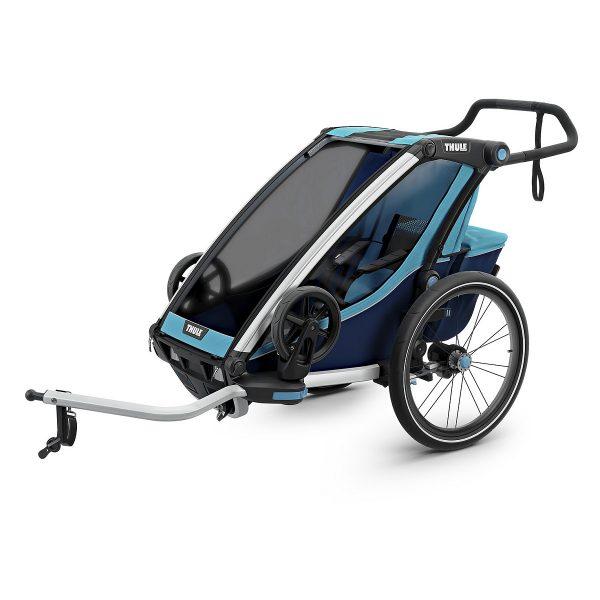 Многофункционалната Thule Chariot Cross детска количка, джогинг, ски и количка за велосипед, комфорт и гъвкавост за семейства с активен начин на живот.