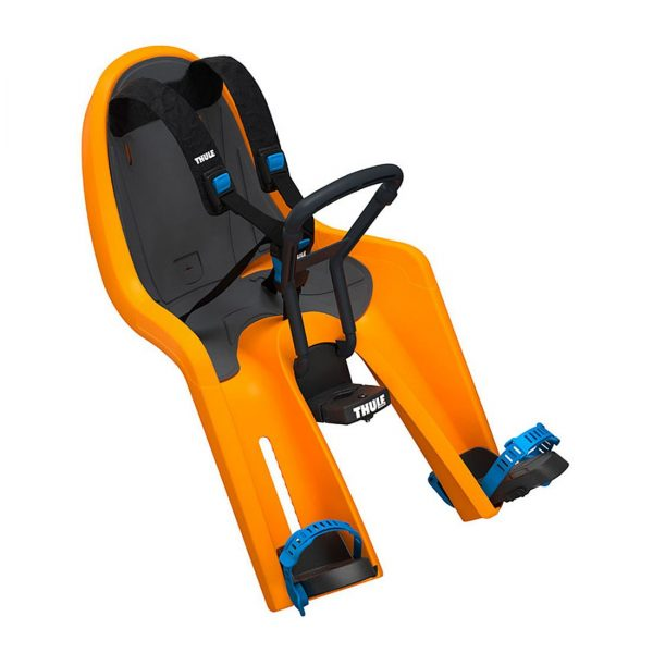 Детско Столче за Велосипед Thule RideAlong Mini Zinnia Оранжево с монтаж отпред на колелото на кормилото е безопасен и удобен начин за леко и приятно пътуване заедно
