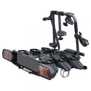 Сгъваем вело багажник в черно Peruzzo Pure Instinct 708 за 3 колела с монтаж на теглич от стомана, накланяне, светлини и номер, за три велосипеда до 60кг