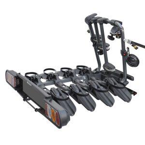 Сгъваем вело багажник в черно Peruzzo Pure Instinct 708 за 4 колела с монтаж на теглич от стомана, накланяне, светлини и номер, за четири велосипеда до 60кг