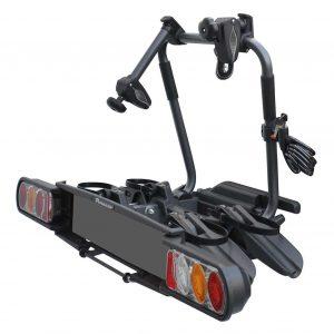 Сгъваем вело багажник в черно Peruzzo Pure Instinct 708 за 2 колела с монтаж на теглич от стомана, накланяне, светлини и номер, за два велосипеда до 60кг