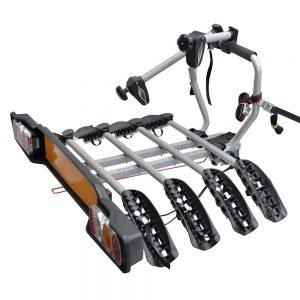 Вело багажник Peruzzo Siena 668 за 4 колела с монтаж на топката на теглич от стомана, накланяне, със светлини и номер, за четири велосипеда с тегло до 60кг