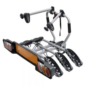 Вело багажник за 3 колела Peruzzo Siena Fisso 669 с монтаж на топката на теглич от стомана с носещи релси, със светлини и номер, за три велосипеда с общо тегло до 51кг.