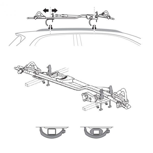 Комплект KIT адаптер 8895, специално проектиран за монтиране на велосипеден багажник Thule ProRide 598 върху стоманени напречни греди или такива без канал.