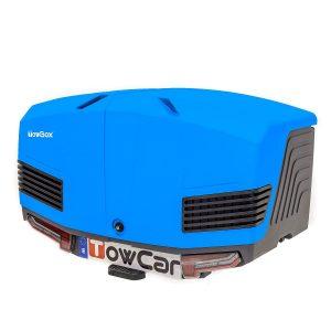 Автобоксът за теглич TowBox V3 Marine е синя кутия, куфар, багажник за товари като бебешки или инвалидни колички, куфари, чанти, торби, материали, кучета, домашни любимци