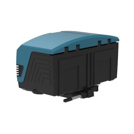Автобоксът за теглич ToxBox V3 Marine е синя кутия, куфар, багажник за товари като бебешки или инвалидни колички, куфари, чанти, торби, материали