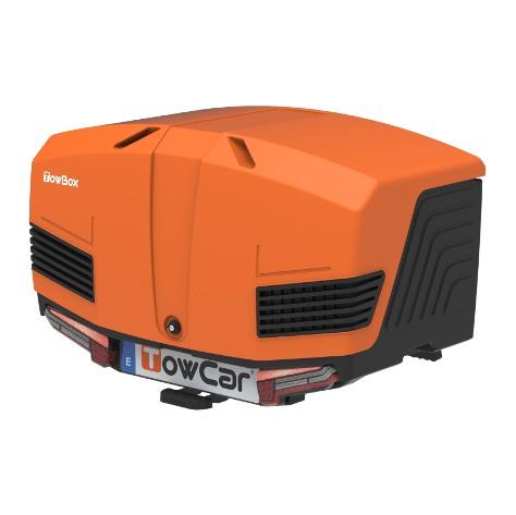 Автобоксът за теглич ToxBox V3 Sport Orange е оранжева кутия, куфар, багажник за товари като бебешки или инвалидни колички, куфари, чанти, торби, материали