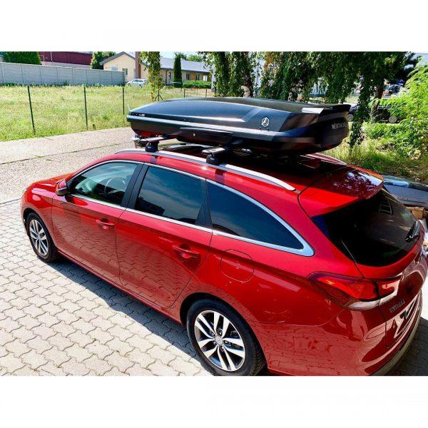 Багажник Автобокс Northline Tirol 420 черен е тих луксозен красив и подсилена стомана кутия за ски багажник модерен дизайн голям обем перфектна аеродинамика