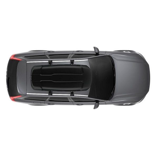 Автобоксът Thule Force XT L черен мат е голям багажник с обем 450 литра и размери 190 x 84 x 46 см за автомобил, комби, джип, сув кола за багаж ски сноуборд