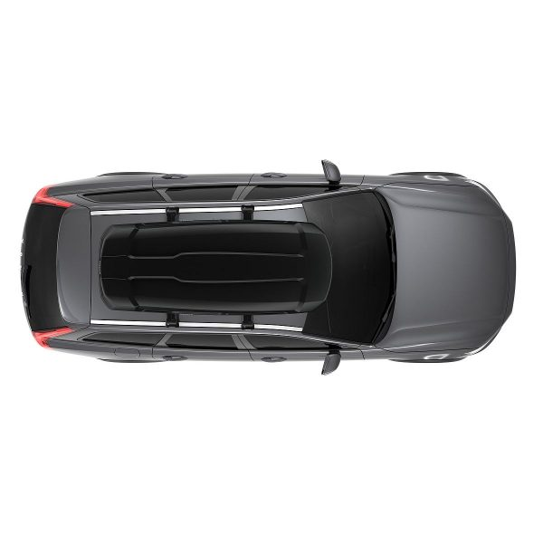 Автобоксът Thule Force XT XL черен мат е голям багажник с обем 500 литра и размери 210 x 86 x 44 см за автомобил, комби, джип сув кола за багаж ски сноуборд