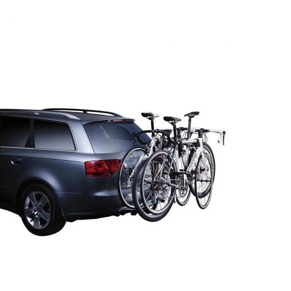 Вело багажник Thule HangOn 3 972 е здрав, сигурен, стабилен, масивен и лесен за използване висящ багажник с пълно заключване и сгъваем малък за теглич