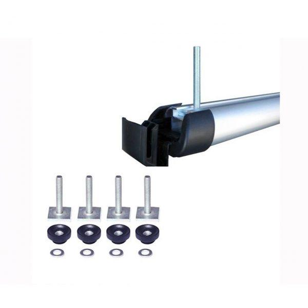HAKR 0480 е комплект адаптери от 4бр. Т-болтове за закрепване на ски багажник Hakr Alu 6 директно към T канала на алуминиеви напречни греди на автомобили.
