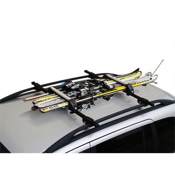 Универсален ски багажник MENABO White Bear 4 за монтаж на напречни греди за ски или сноуборд със заключване, здрав, надежден, евтин, хубав, стабилен, алуминиев