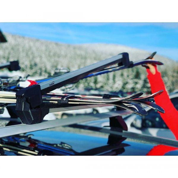 Универсален ски багажник Hakr 0560 за монтаж на напречни греди за ски сноуборд със заключване, здрав, надежден, евтин, хубав, стабилен, алуминиев, нов модел