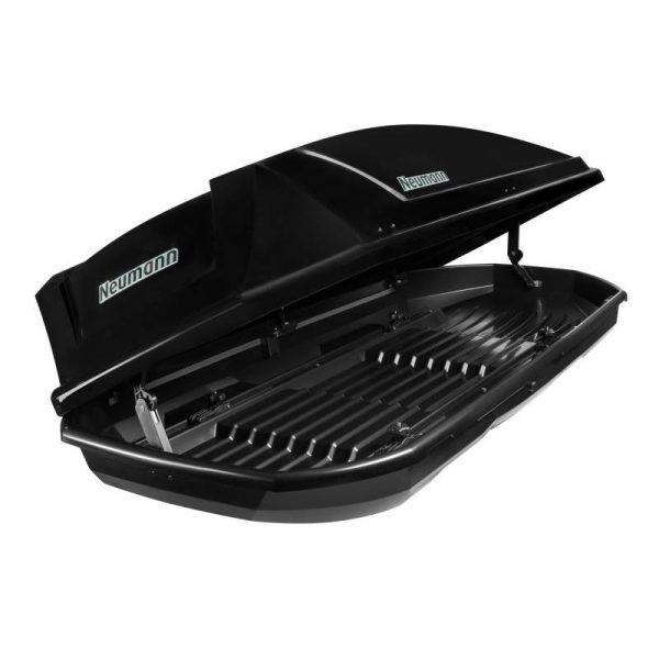 Голям Автобокс Neumann Adventure 205 с обем 460 литра черен гланц. Тих, красив и аеродинамичен багажник, куфар за багаж за  голяма кола, комби, джип или ван