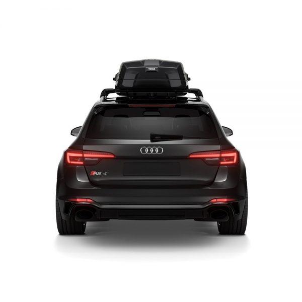 Автобоксът Thule Vector e луксозна и феноменална кутия с много модерен и аеродинамичен дизайн в цвят сив мат и много екстри, супер тиха и спортна