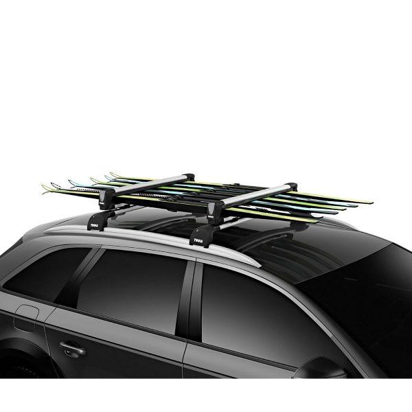 Универсален ски багажник Thule SnowPack L 7326 - 87см за 6 чифта ски или 4 сноуборда с монтаж на алуминиеви напречни греди wingbar с Т канал и Т болтове