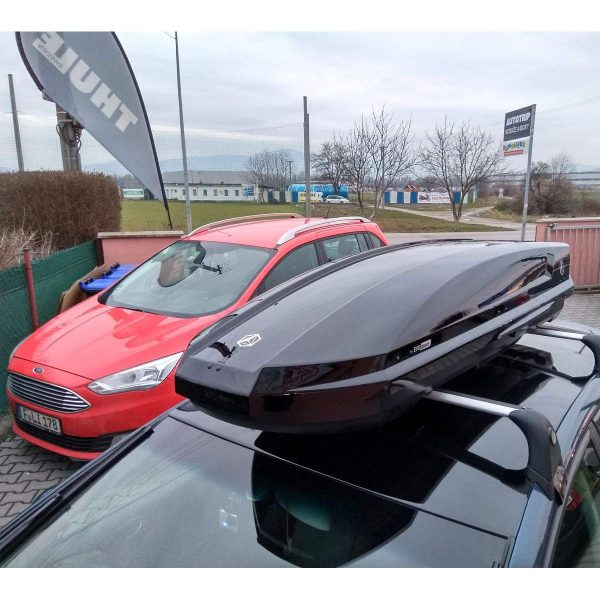 Багажник Автобокс Northline EvoSpace черен е тих луксозен красив и спортен багажник - кутия за ски багаж модерен дизайн голям обем перфектна аеродинамика