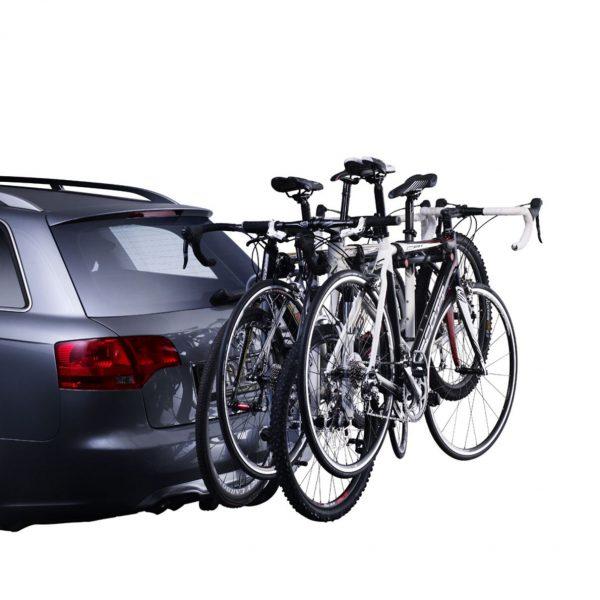 Вело багажник Thule HangOn 9708 за 4 велосипеда е здрав, сигурен, стабилен, масивен и лесен за използване с пълно заключване и сгъваем малък за теглич с висящи колела