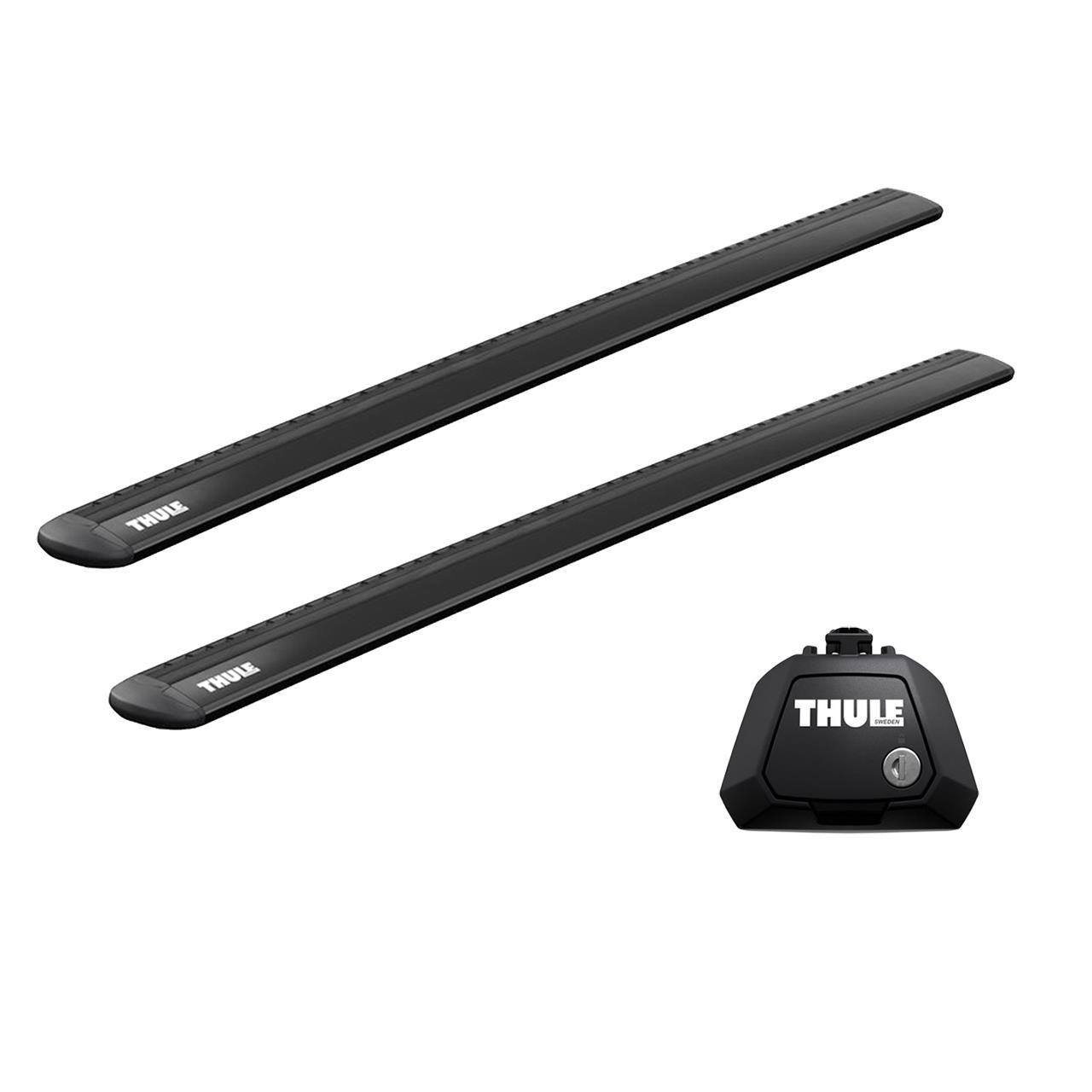 Напречни греди Thule Evo Raised Rail WingBar Evo 127cm в Черно за KIA Soul (Mk I) 5 врати Hatchback 08-13 с фабрични надлъжни греди с просвет 1