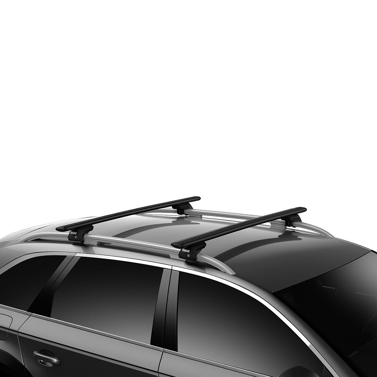Напречни греди Thule Evo Raised Rail WingBar Evo 127cm в Черно за FIAT Stilo Uproad 5 врати SUV 02-07, с фабрични надлъжни греди с просвет 5