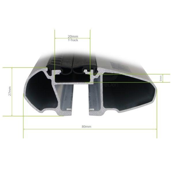 Напречни греди Thule Evo Raised Rail WingBar Evo 127cm в Черно за FIAT Stilo Uproad 5 врати SUV 02-07, с фабрични надлъжни греди с просвет 9