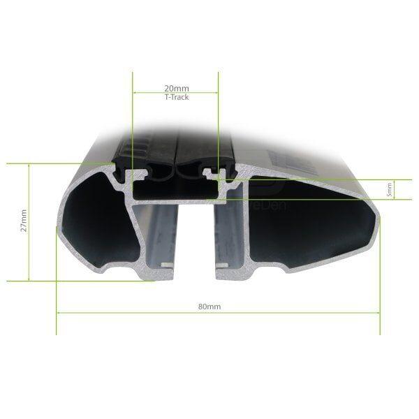 Напречни греди Thule Evo Raised Rail WingBar Evo 135cm за HYUNDAI iLoad 5 врати Van 2008- (ASIA) с фабрични надлъжни греди с просвет 10