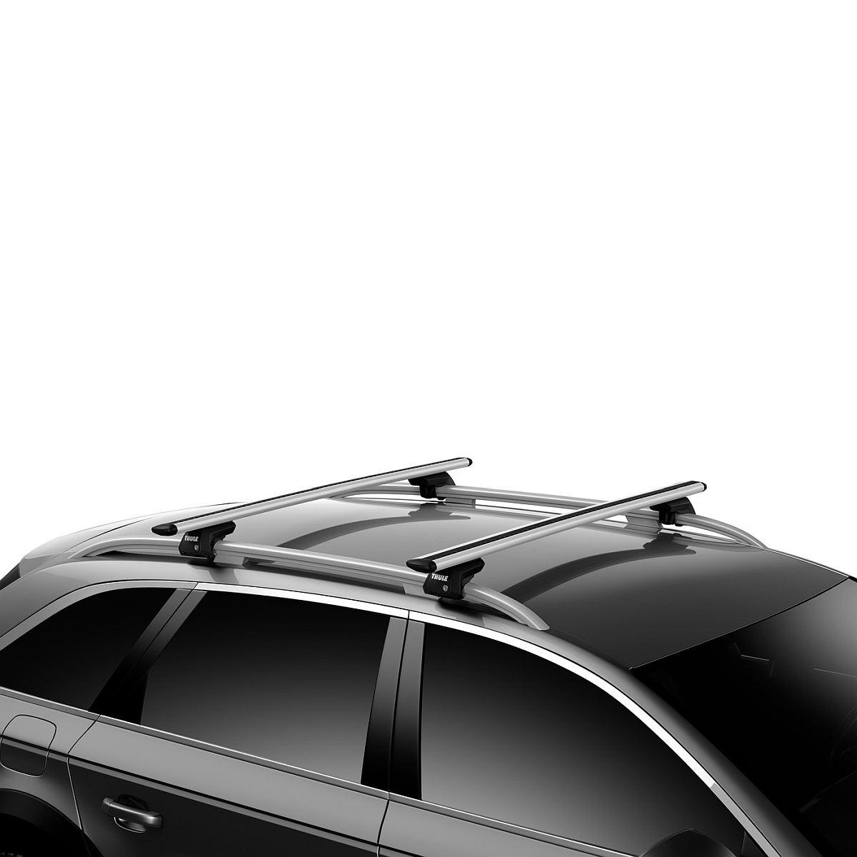 Напречни греди Thule Evo Raised Rail WingBar Evo 127cm за FIAT Stilo Multiwagon 5 врати Estate 02-07 с фабрични надлъжни греди с просвет 3