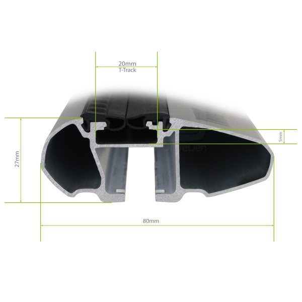 Напречни греди Thule Evo Raised Rail WingBar Evo 118cm за VOLVO 940 5 врати Estate 90-99 с фабрични надлъжни греди с просвет 10