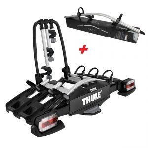 Вело багажник за колела Thule VeloCompact 3 927 е здрав, сигурен, стабилен, масивен и лесен за използване багажник за теглич със заключване, сгъваем малък