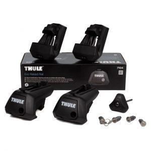 Захвати Thule Evo Raised Rail 7104 за напречни греди, комплект универсални апарати, нов модел за коли с фабрични греди с просвет