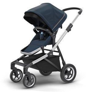 Детска количка Thule Sleek - стилна хубава с големи гуми, маневрена, високо проходима за пътеки в гората или градината, с възможност за двойна, за три деца