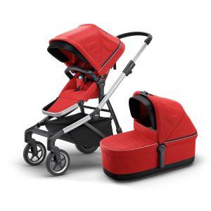 Детска лятна количка Thule Sleek в комплект със стилен кош за новородени Thule Sleek Bassinet стилна хубава с големи гуми, маневрена, проходима за разходки