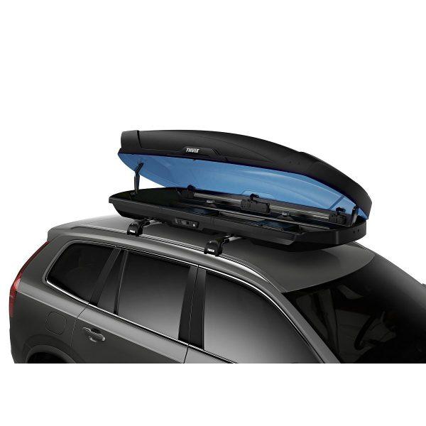 Автобоксът Thule Motion XT XL черен мат е много голям багажник с обем 500 литра и размери 215 x 91.5 x 44 см за автомобил, кола за багаж ски сноуборд