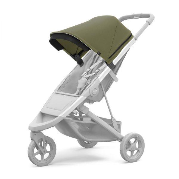 Вентилиран сенник за детска количка Thule Spring Canopy Olive Green регулируем, удължаващ се, със защита от слънце.