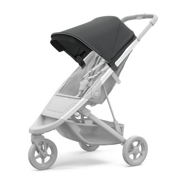 Вентилиран сенник за детска количка Thule Spring Canopy Shadow Grey регулируем, удължаващ се, със защита от слънце.