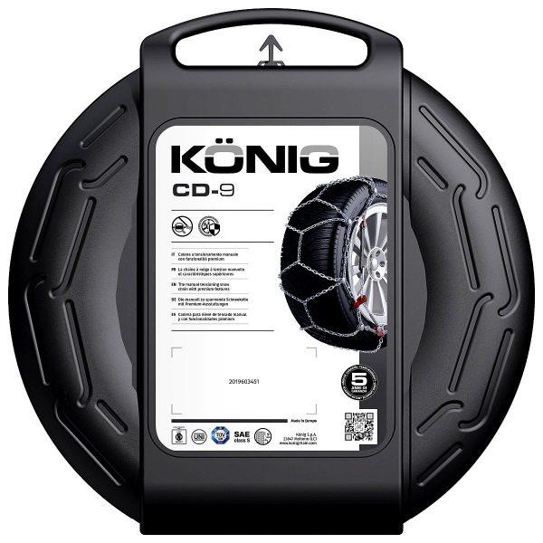 Кутията на вериги за сняг Konig CD-9 изработени от висококачествена 9 мм метална верига със система за защита на лети джанти и най-добро опъване и монтаж