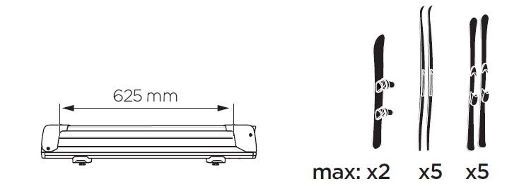 Универсален Приплъзващ Багажник за Ски или Сноуборд Thule SnowPack Extender 7325 на телескопична система на издърпване на страни за лесно и убодно товарене и разтоварване