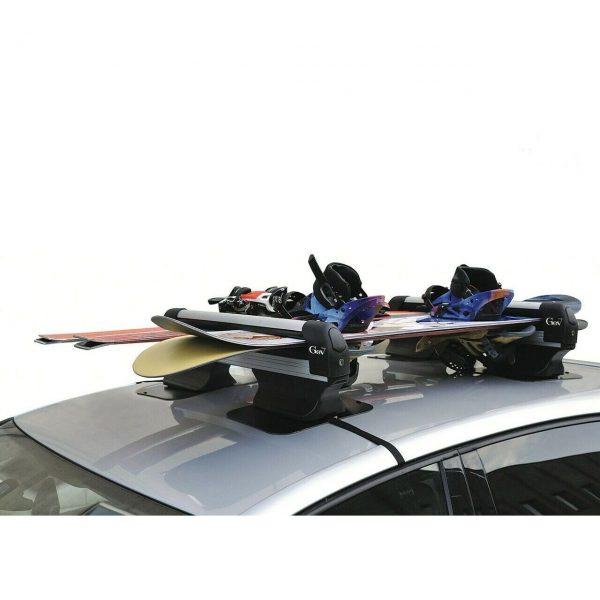 Магнитен ски багажник Gev Bora, подходящ за 5 чифта ски или сноуборд. Голям и телескопичен ски багажник, с голяма сила на залепване и странично издърпване