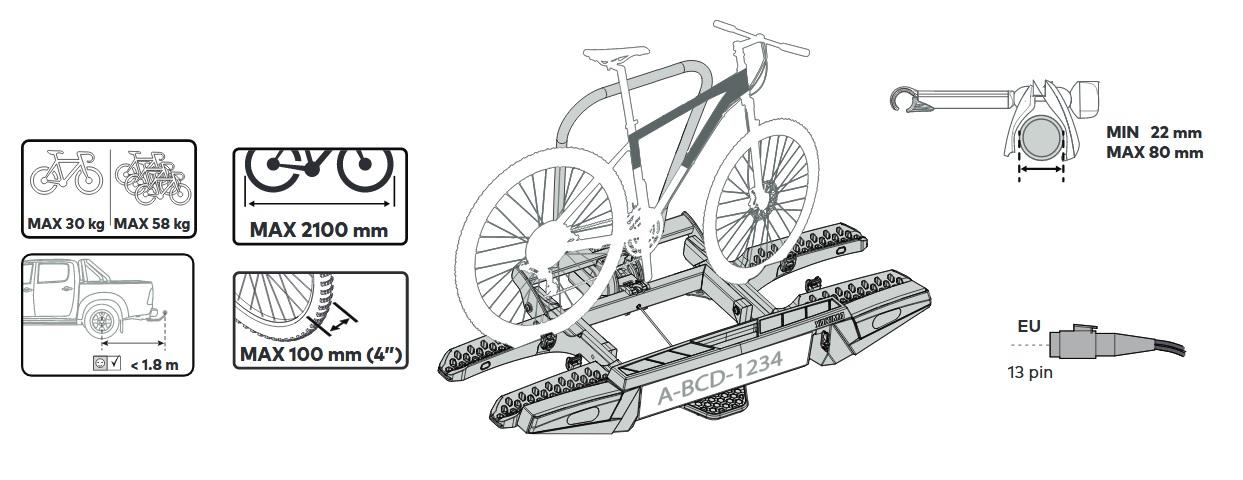 Вело багажник за колела Yakima FoldClick 3 е здрав, сигурен, стабилен, масивен и лесен за използване багажник за теглич със заключване, сгъваем малък