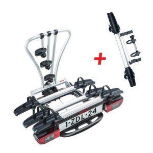 Вело багажникът за четири колела Yakima JustClick 3 + Адаптер Yakima JustClick+1 за допълнително колело е малък и здрав, сигурен и стабилен, масивен и лесен за използване сгъваем багажник за теглич със заключване, стойка, платформа за 4 велосипеди