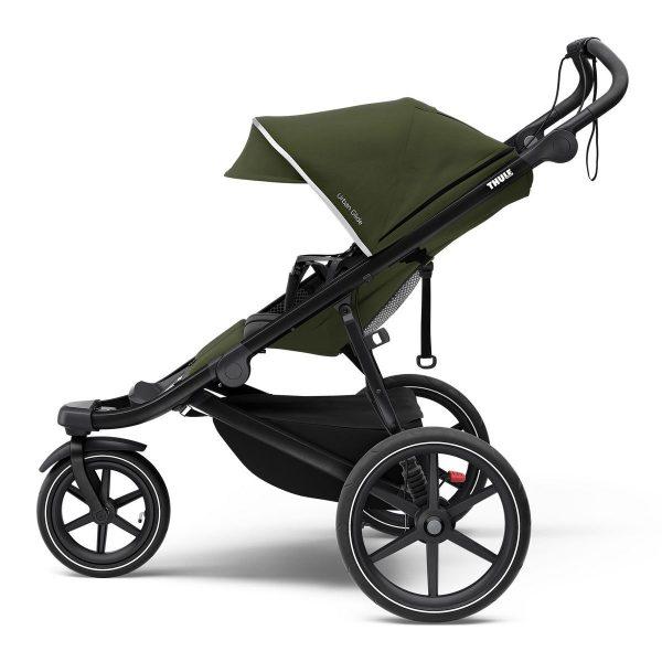Спортна детска лятна количка за джогинг Thule Urban Glide 2 в черно и зелено за бягане с помпащи се гуми, маневрена, високо проходима за пътеки в гората и градината