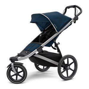 Спортна детска лятна количка за джогинг Thule Urban Glide 2 в черно и синьо за бягане с помпащи се гуми, маневрена, високо проходима за пътеки в гората и градината