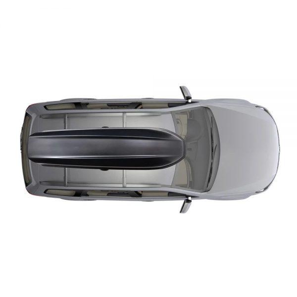 Багажник Автобокс Yakima SkyBox 12 черен е тих луксозен красив и спортен багажник - голяма кутия за ски багаж модерен дизайн голям обем перфектна аеродинамика