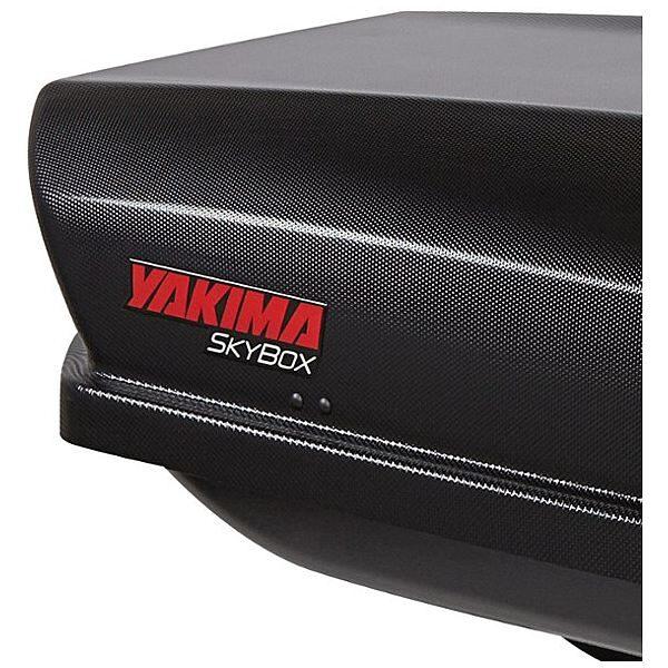 Багажник Автобокс Yakima SkyBox 18 черен е тих луксозен красив и спортен багажник - голяма кутия за ски багаж модерен дизайн голям обем перфектна аеродинамика
